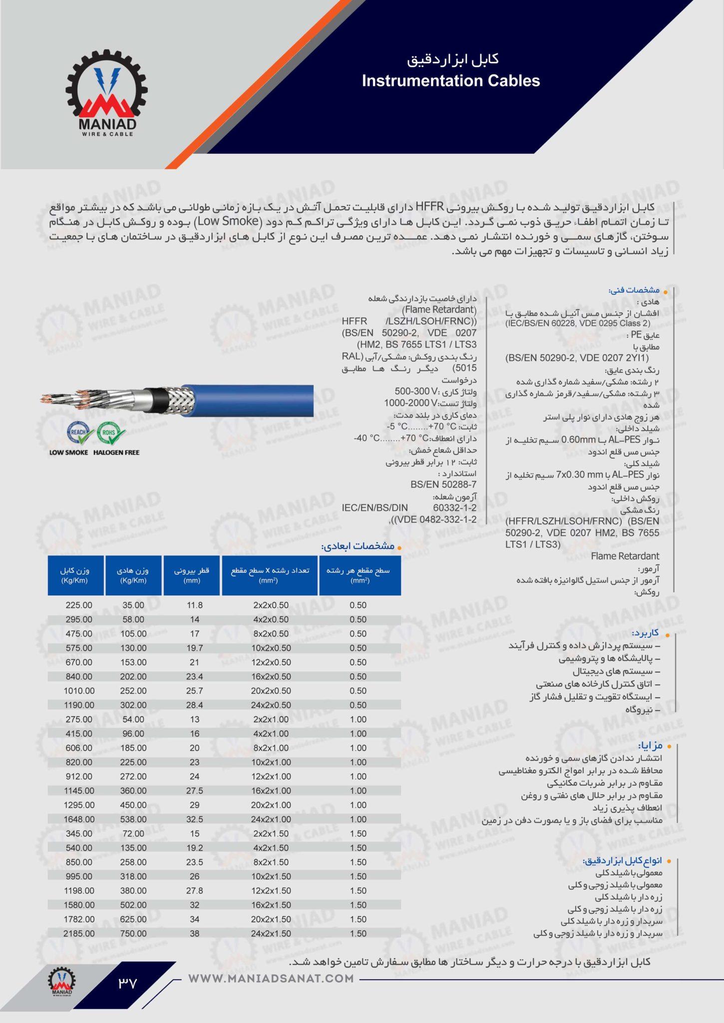 کابل ابزار دقیق HFFR