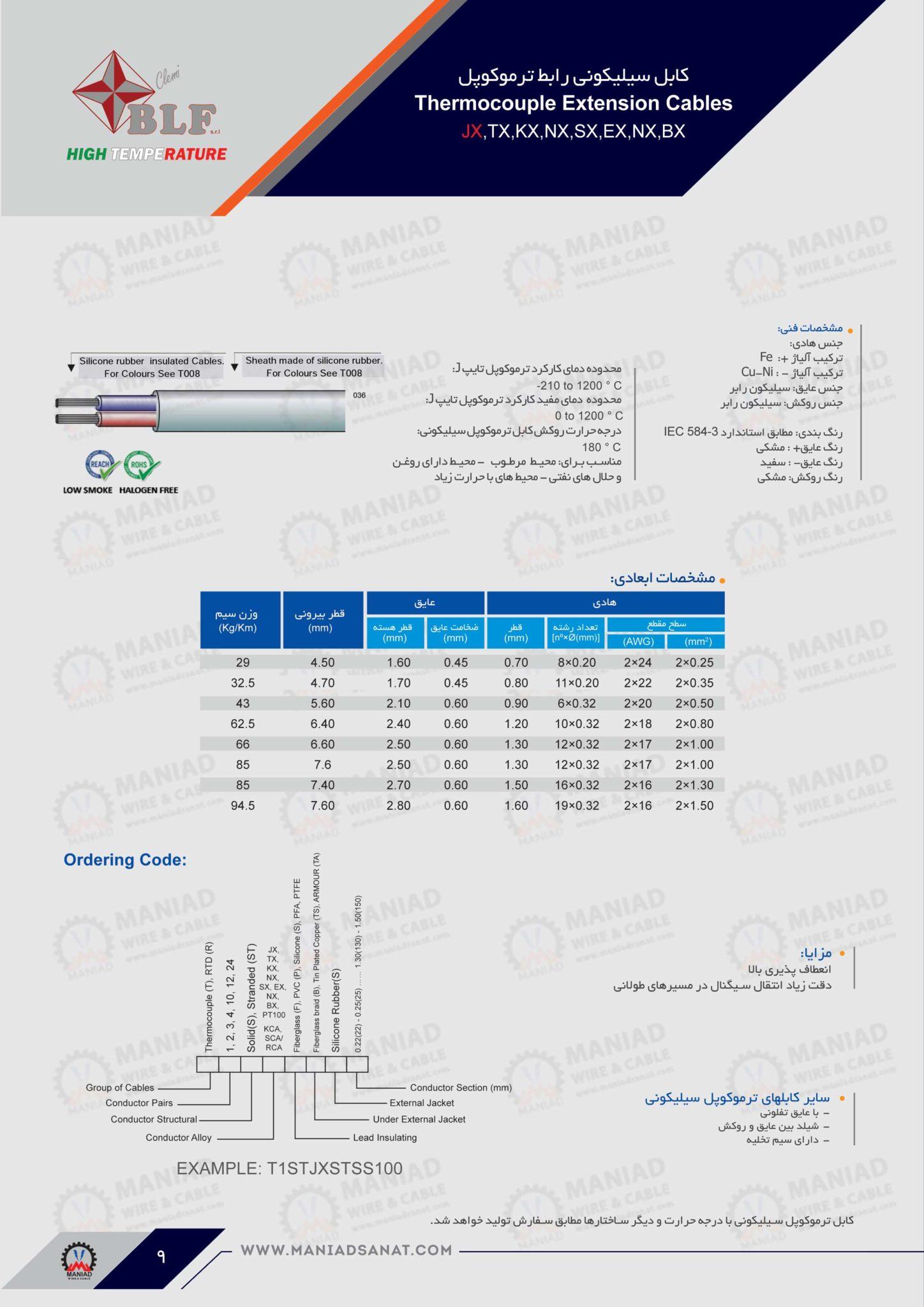 کابل ترموکوپل PVC